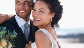 South Africa, Cape Town, Portrait of newly wed couple