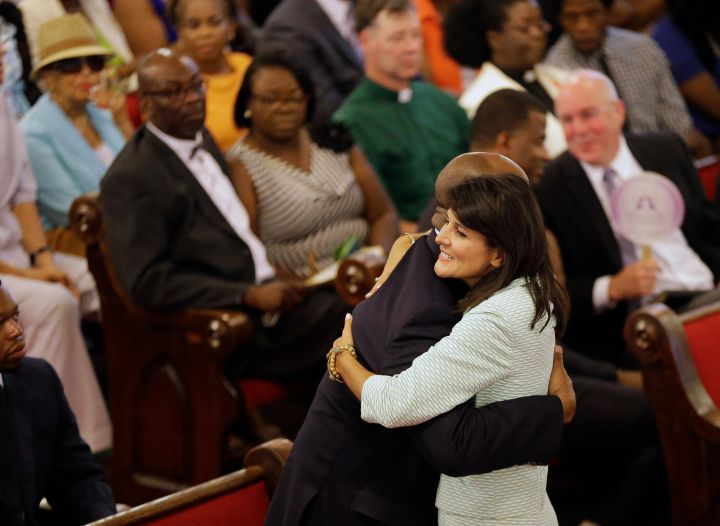 SC Governor Nikki Haley Comforts Parishoner