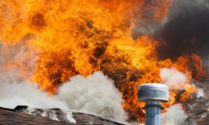 Flames of intense house fire