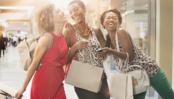 Women shopping together in mall