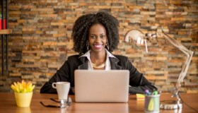 African woman in the office