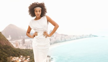 Portrait of woman wearing white dress, Alto Vidigal, Rio de Janeiro, Brazil