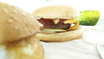 Hamburgers On Tablecloth