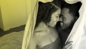 black couple embrace