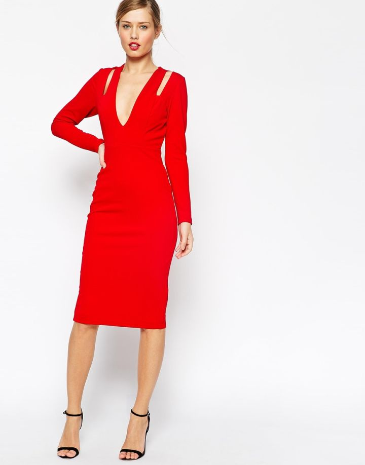 Red Cut Out Long Sleeve Dress