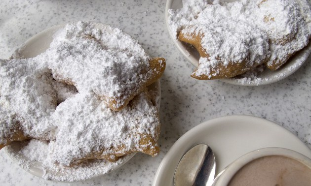 Beignets and hot chocolate are popular items at Cafe Du Monde.