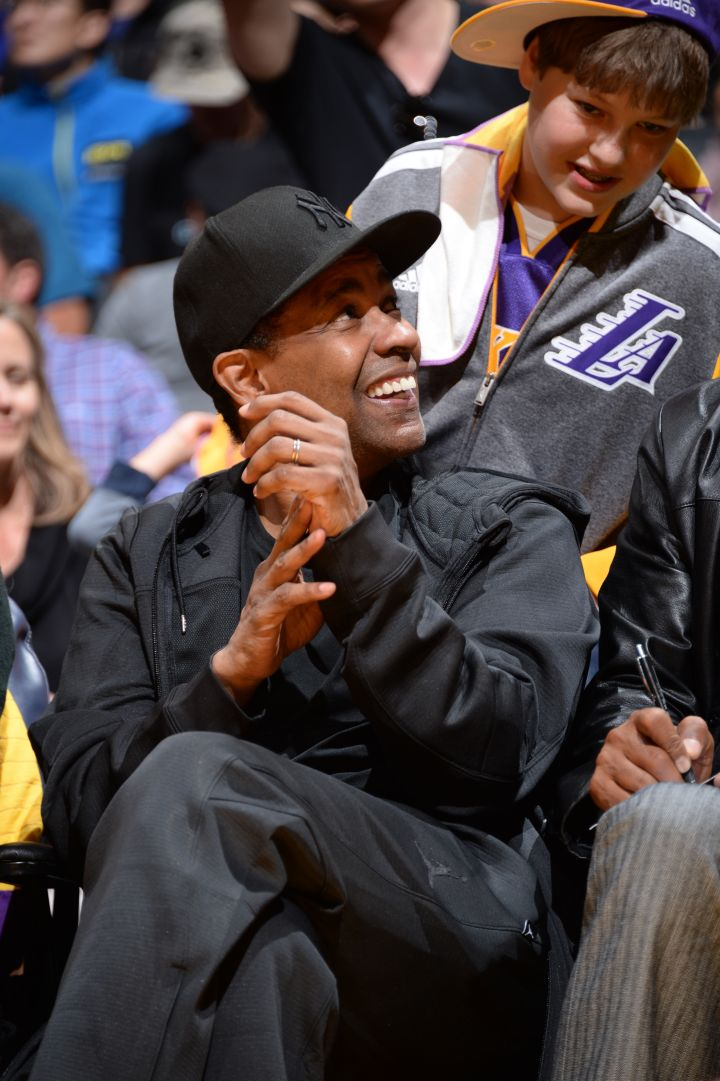 Denzel Courtside At The Lakers Game