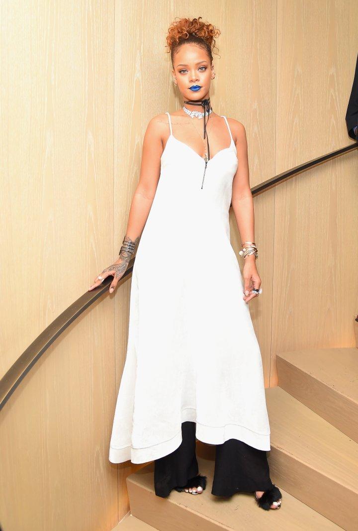 Rihanna in Blue Lipstick