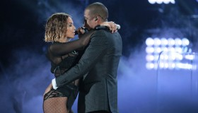Singer Beyonce and husband Jay Z perform on stage at the 56th Annual GRAMMY(R) Awards at STAPLES Ce