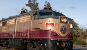 The Napa County wine train offers lunch and wine tasting aboard vintage coaches, and stops for one o