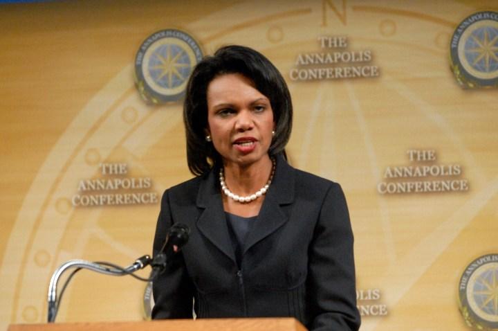 Secretary of State Condoleezza Rice makes a closing...