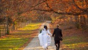African American bride and groom walking on path