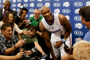 LOS ANGELES, CA – SEPTEMBER 28, 2012: Lamar Odom sits for his first interview as a Los Angeles Clipp