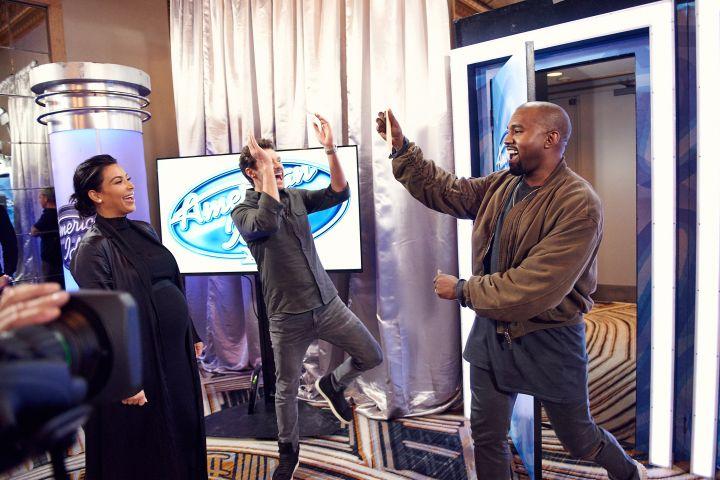 Kim Kardashian, Ryan Seacrest, and Kanye West