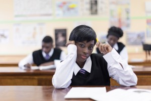 Students writing exams in the classroom, Cape Town, South Africa