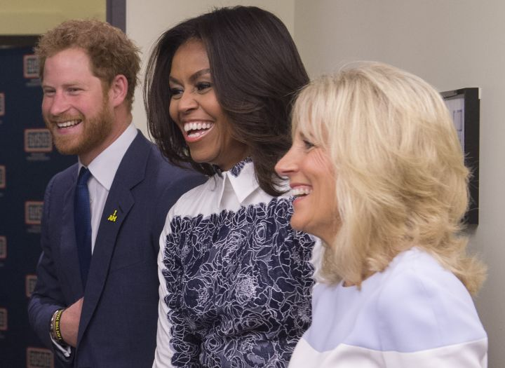First Lady Michelle Obama with Jill Biden and Prince Harry