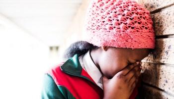 School girl in despair
