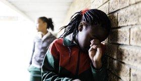 Portrait of a bullied school girl