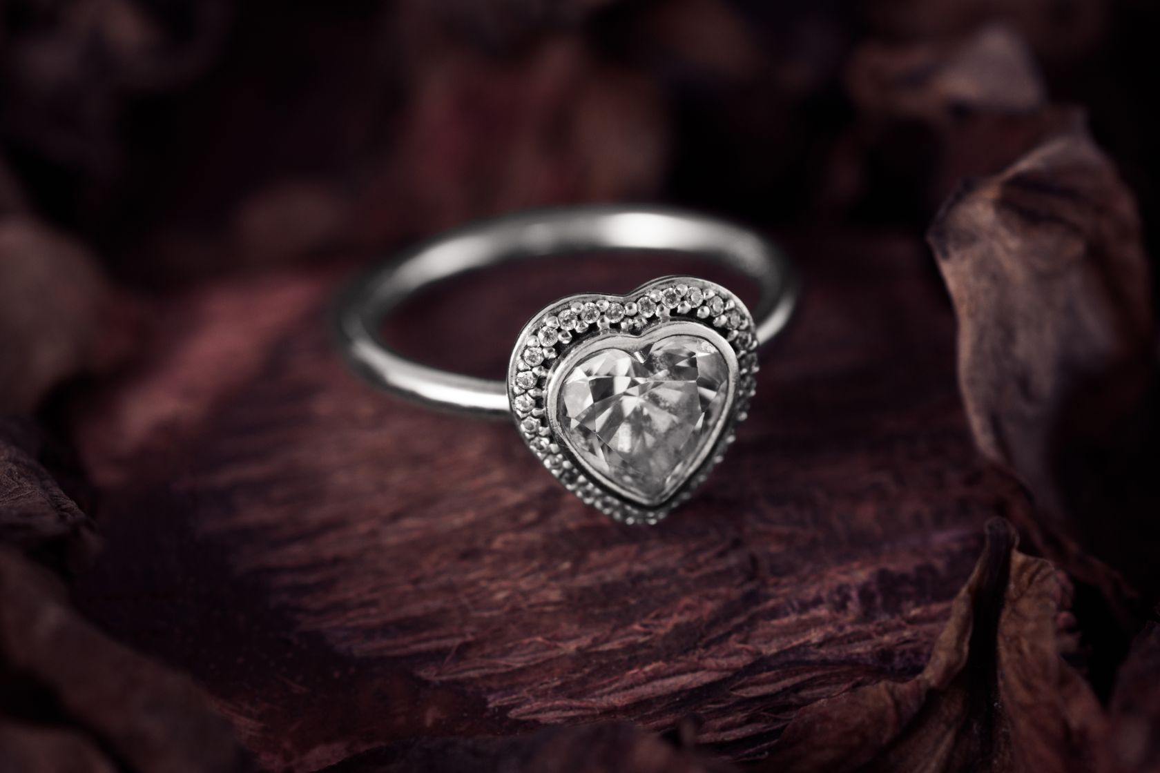 Silver heart shaped ring with cubic zirconia