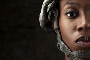 Female African American Soldier Series: Against Dark Brown Background