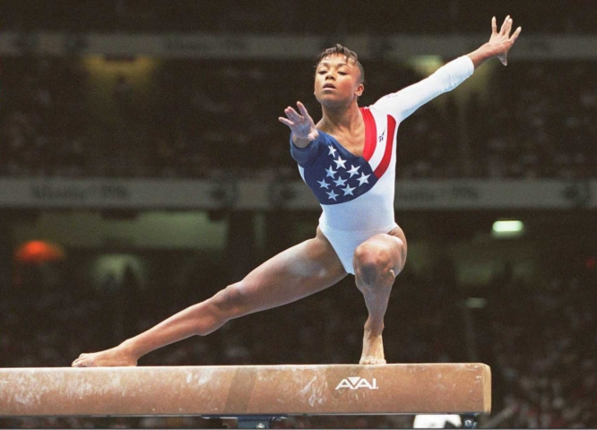 US Olympic team gymnast Dominique Dawes practices