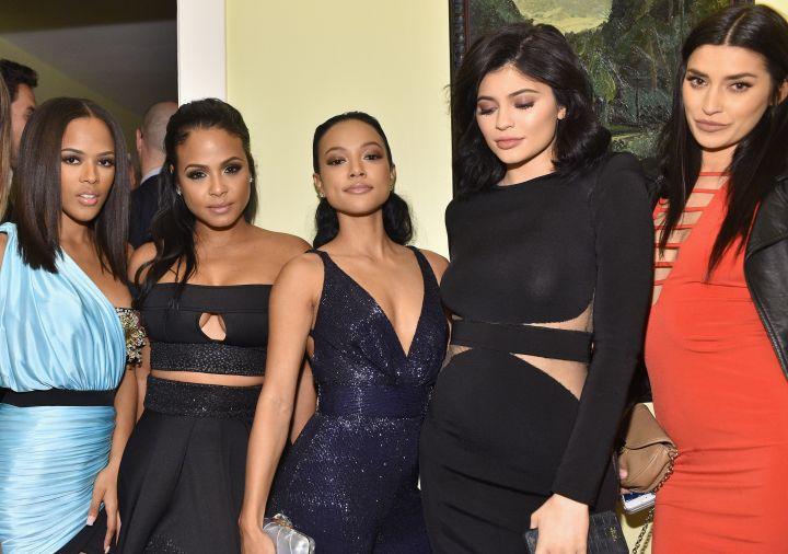 (L-R) Actress Serayah McNeill, singer Christina Milian, model Karrueche Tran, TV personality Kylie Jenner, and TV personality Nicole Williams