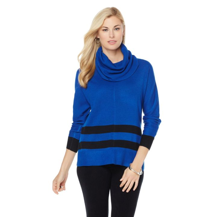 Wendy Williams Cowl Neck Striped Pullover Top- $49.90