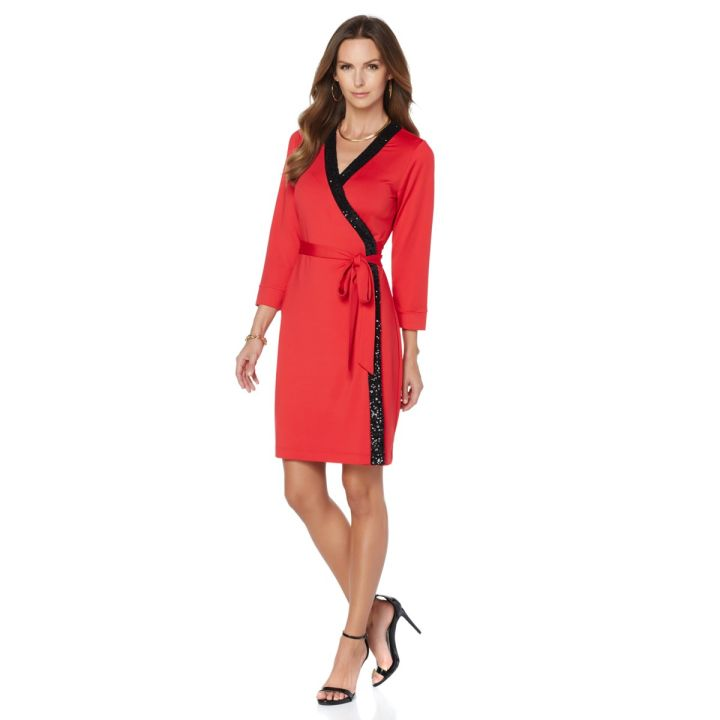Wendy Williams Sequin Wrap Dress with Tie- $59