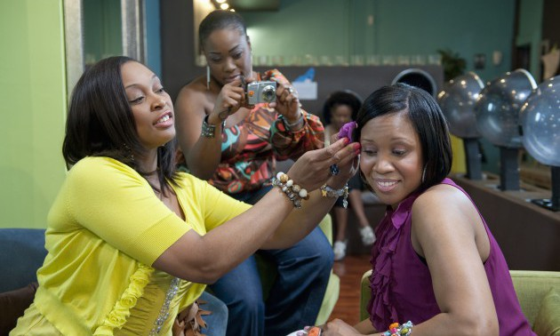 Women friends together at beauty salon