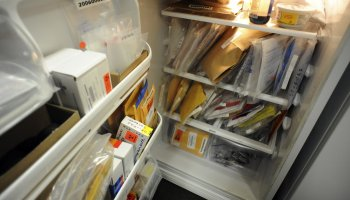 LPD25-- DNA, mostly rape kits, are cramped into the refrigerator at Littleton Police Department Department, on W. Berry Ave in Littleton, The department is planing a much needed expansion. RJ Sangosti/ The Denver Post