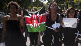 Students rally in solidarity with Kenya University attack victims in Johannesburg