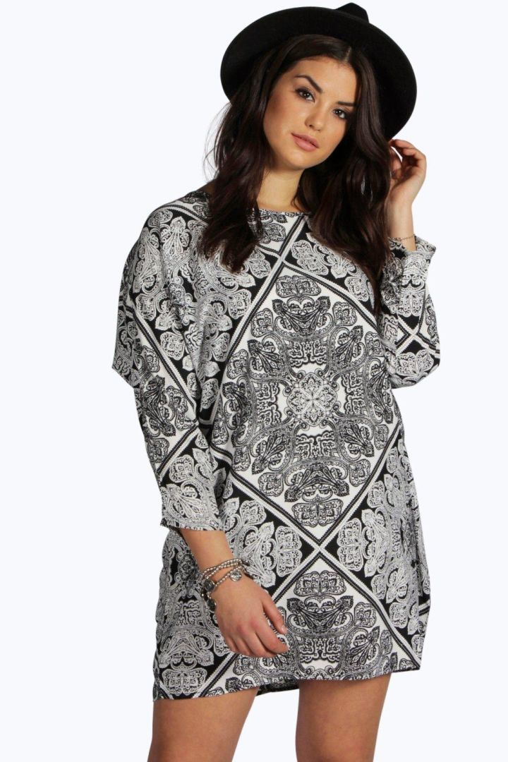 Print Long Sleeve Dress