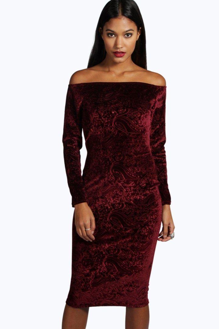 Velvet Off Shoulder Dress