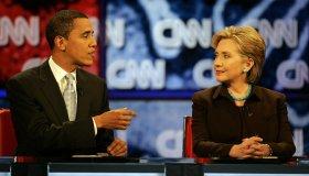 Senator Barack Obama and Senator Hillary Clinton participate in the Los Angeles Democratic Presiden