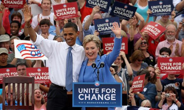 Sen. Obama And Sen. Clinton In Unity, NH