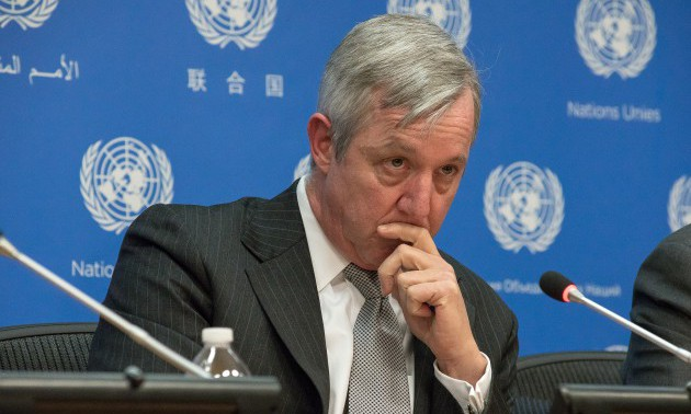 Anthony Banbury speaks with the UN press corps, The United...
