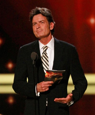 Charlie Sheen as presenter during show coverage of The 63rd Annual Prime Time Emmy Awards Show on S