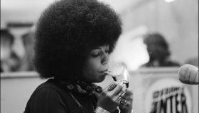 Angela Davis's files pictures in Berlin, Germany on May 15th, 1975.