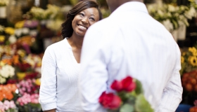 African female excited for her boyfriends suprise.