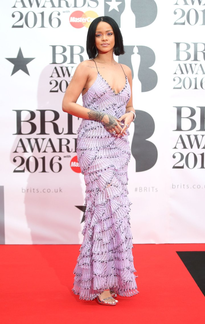 Rihanna in Purple at the 2016 BRIT Awards