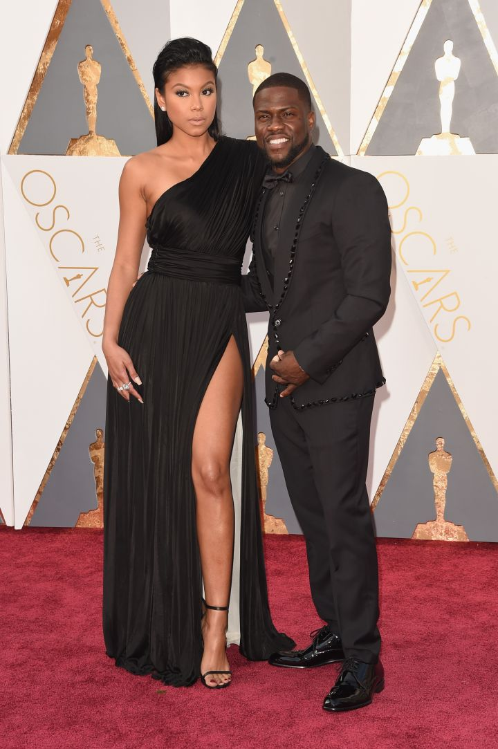 Kevin Hart (R) with fiancee Eniko Parrish
