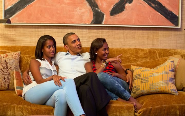 BARACK OBAMA AND HIS DAUGHTERS LOUNGING ON THE SOFA, 2016