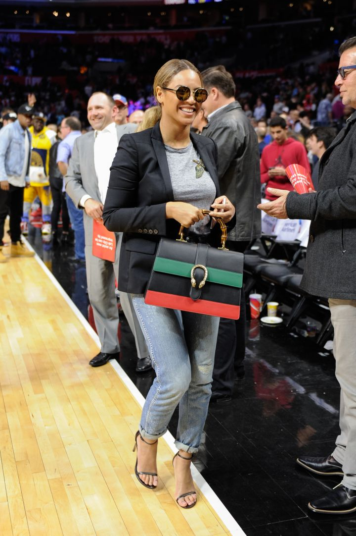 Beyonce at a Brooklyn Nets and the Los Angeles Clippers in February