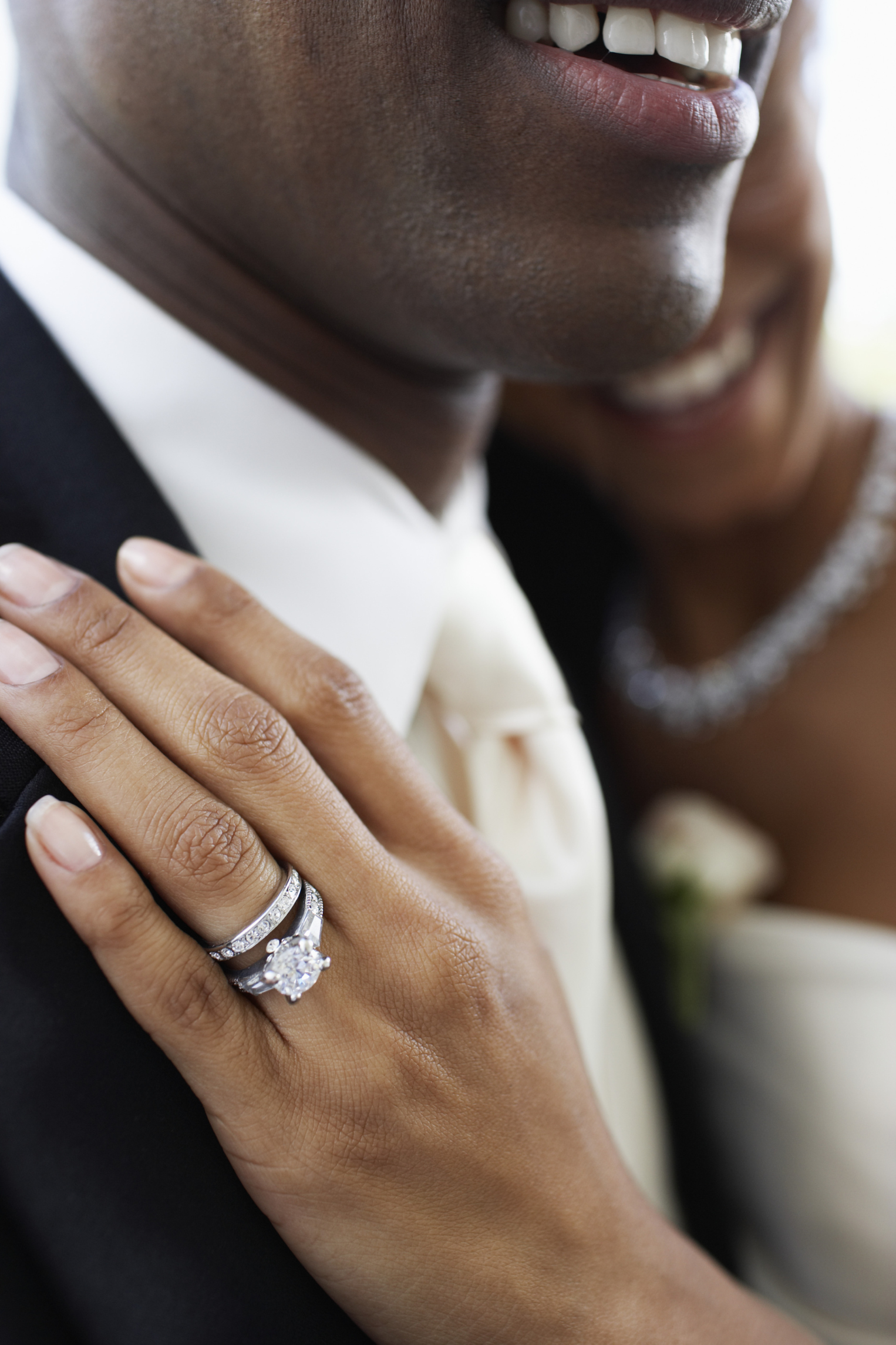 Bride Wearing Engagement and Wedding Rings