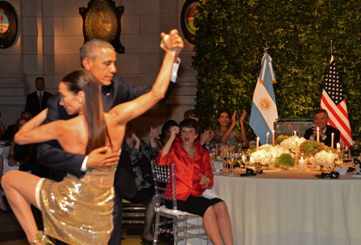 BARAK OBAMA DANCES THE TANGO AT THE STATE DINNER IN ARGENTINA, 2016