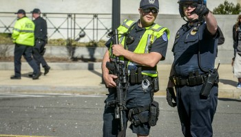 The scene outside of the U.S. Capitol building after an intruder was shot by Capitol police, in Washington, DC.