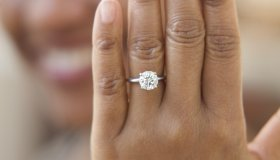 Close up of hand with engagement ring
