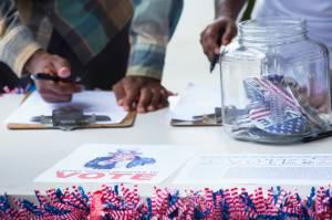 Students signing up at voter registration