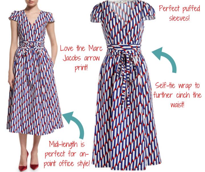 Marc Jacobs || Short-Sleeve Arrow-Print Midi Dress