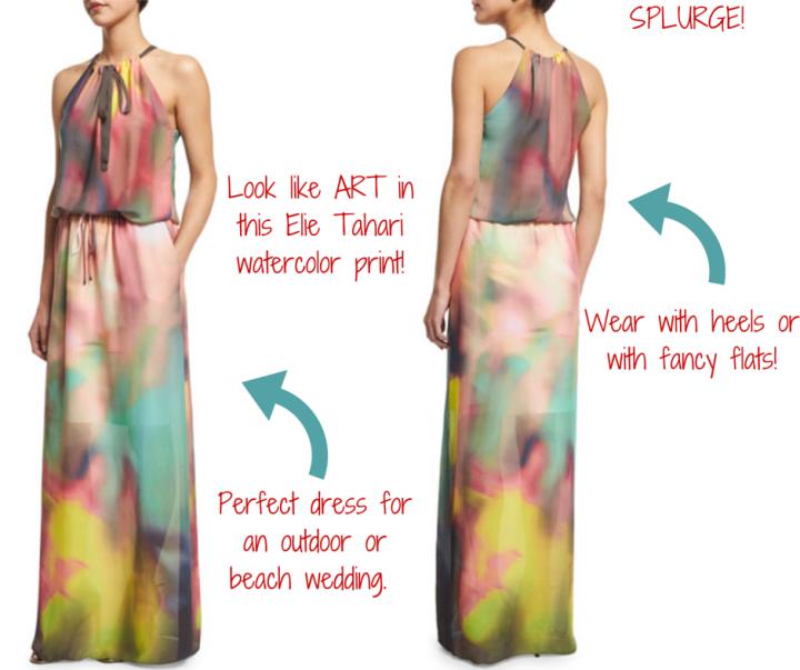 Elie Tahari || York Sleeveless Watercolor Maxi Dress, Multi Colors